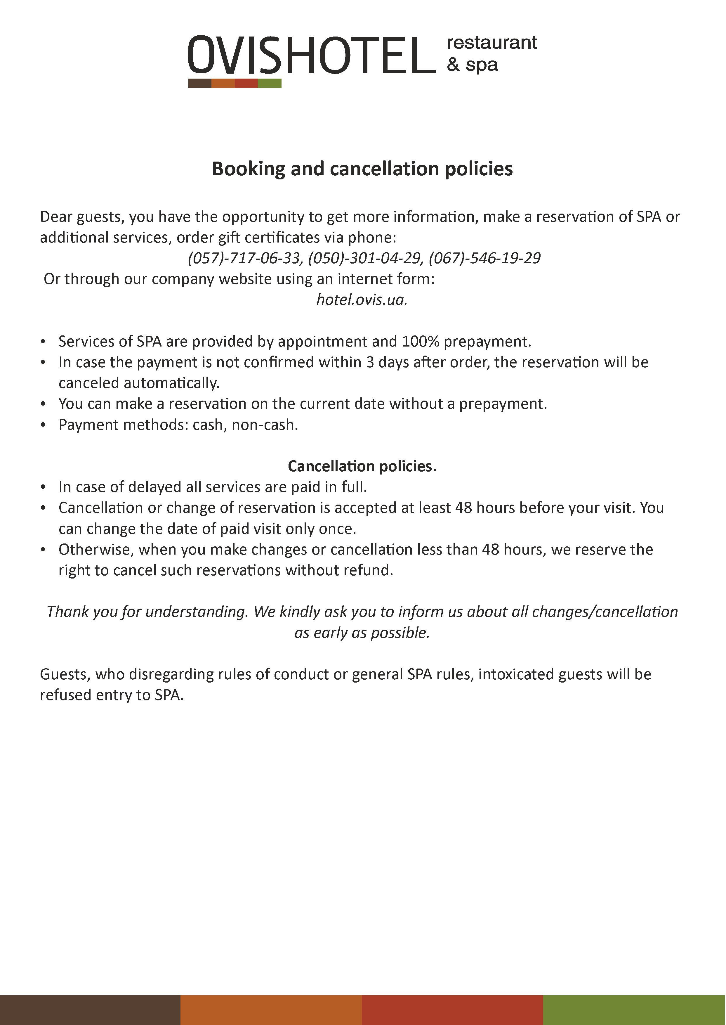 ce05d13b6e22 Booking and cancellation policies